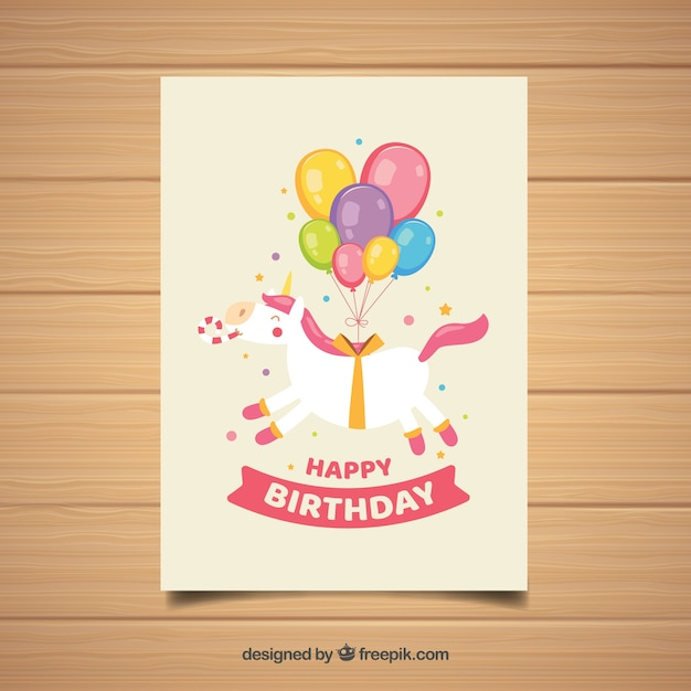 Cute Birthday Card With Unicorn Vector Free Download