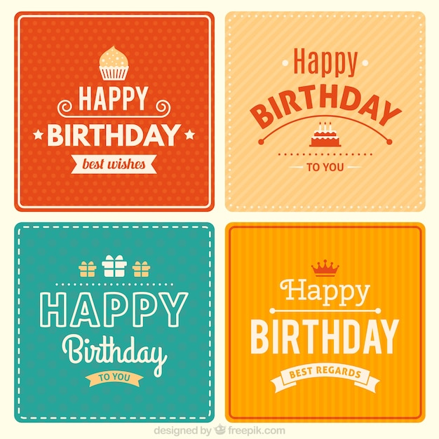 Happy Birthday Card Freepik ~ Cute birthday cards collection vector free download