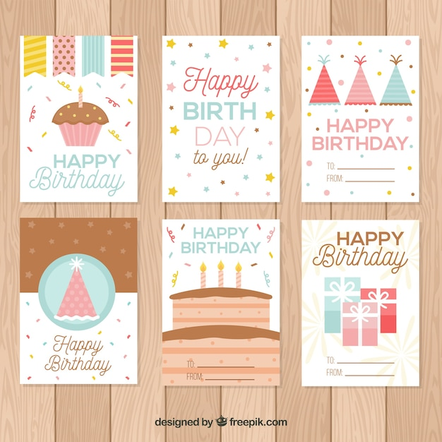 Cute Birthday Cards Collection Vector Free Download