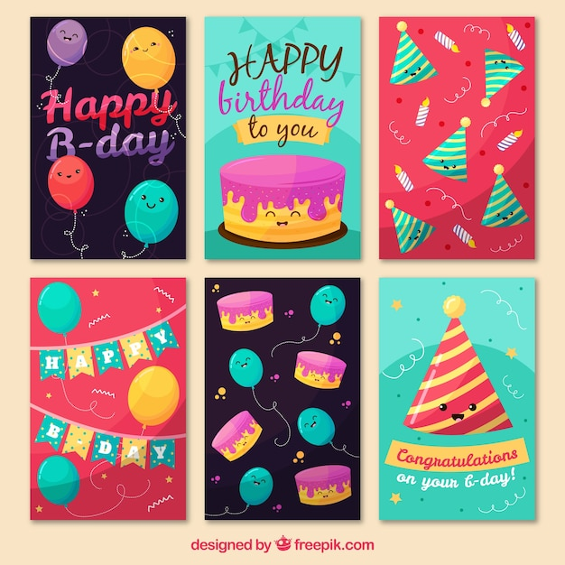 Cute birthday cards collection Vector – Birthday Card Collection