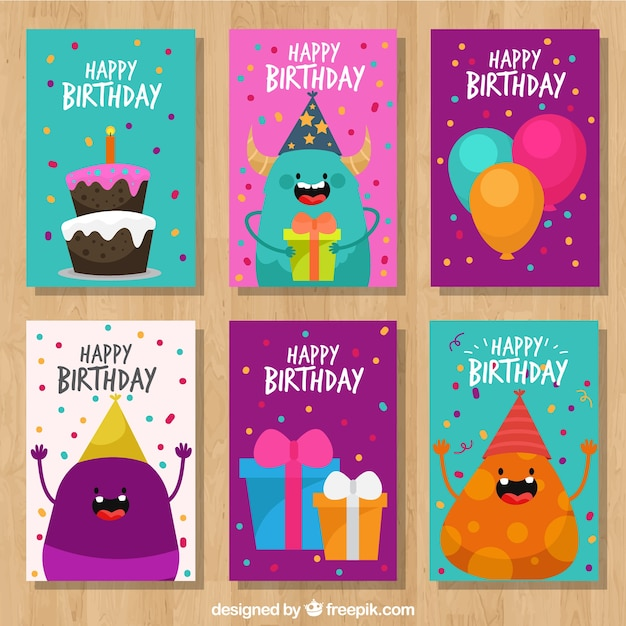 Cute birthday cards set vector free download cute birthday cards set free vector bookmarktalkfo Choice Image