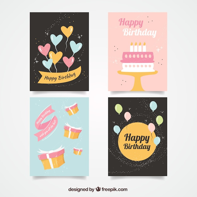 Cute birthday cards set vector free download cute birthday cards set free vector m4hsunfo