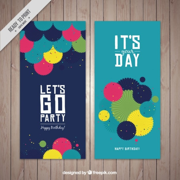 Cute birthday cards with colored papers Vector – Clever Birthday Cards