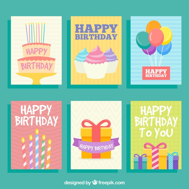Cute Birthday Cards Vector Free Download