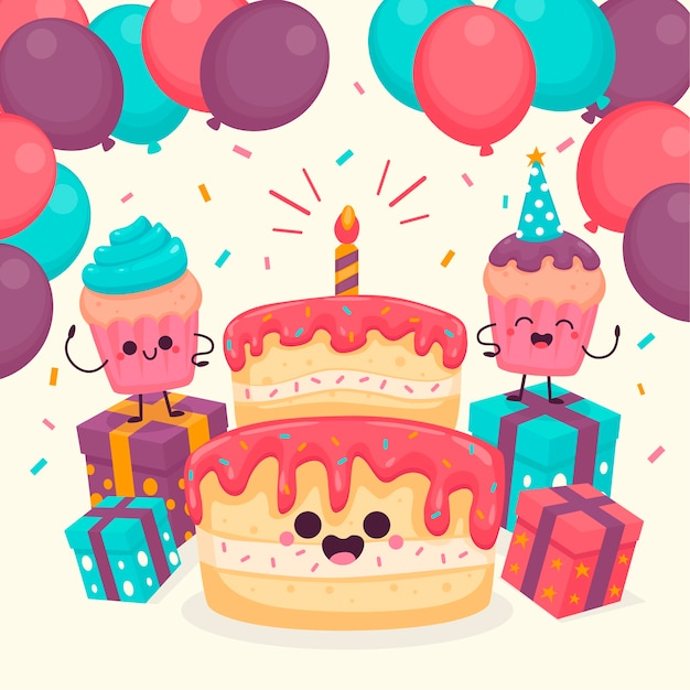 Cute birthday characters illustrated Free Vector