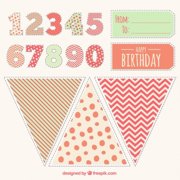 Cute birthday decorations Free Vector. Cute birthday decorations Vector   Free Download