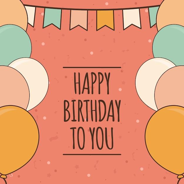 Cute Birthday Greeting Card Template Vector Premium Download