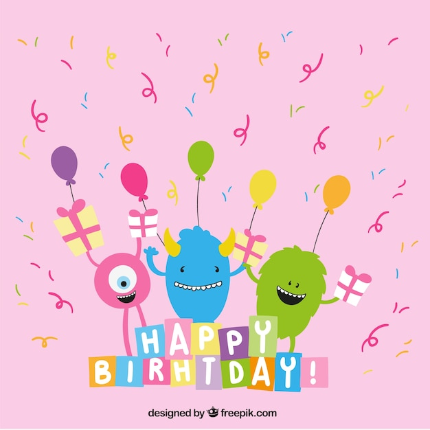 Cute Birthday Greeting With Monsters 802762