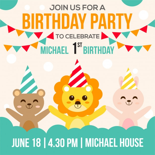 Cute Birthday Invitation Vector Premium Download