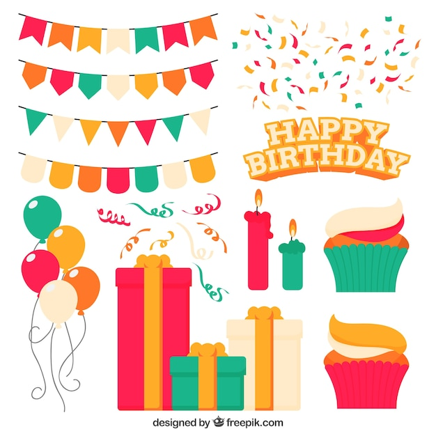 Cute birthday party decoration Vector Free Download