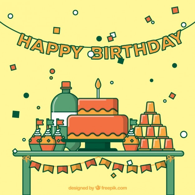 Cute birthday party Vector Free Download