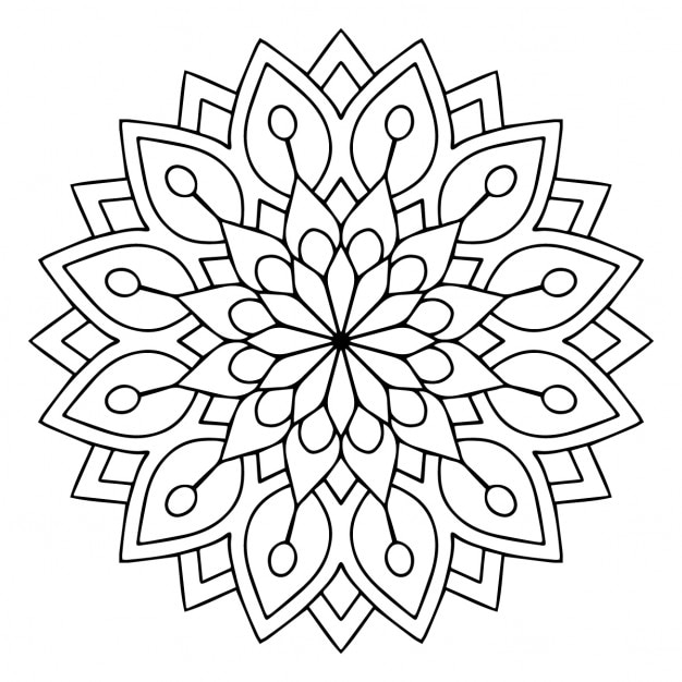Cute Black And White Floral Mandala Vector