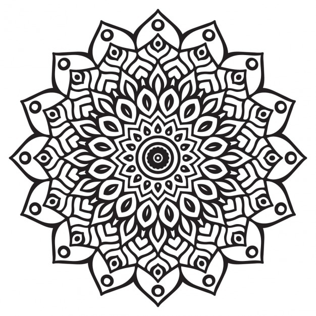 طرح روی مس Cute black and white mandala Vector | Free Download