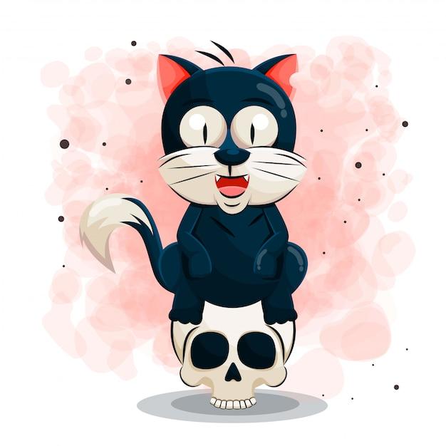 할로윈 그림에 대 한 귀여운 검은 고양이 만화 프리미엄 벡터