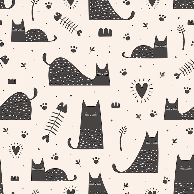 Cute black cats seamless pattern with hand drawn childish Premium Vector