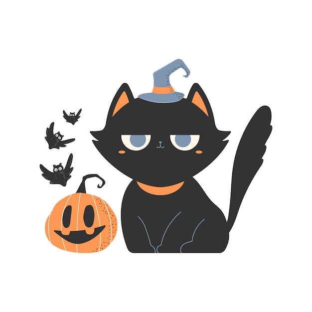 Cute black cats in witch hat cartoon character. Premium Vector