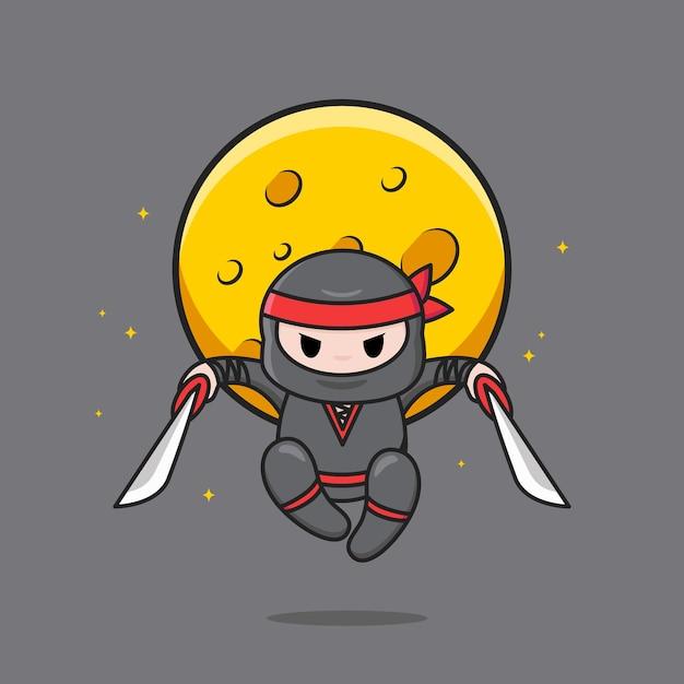 점프하는 빨간 머리띠와 귀여운 검은 닌자 프리미엄 벡터