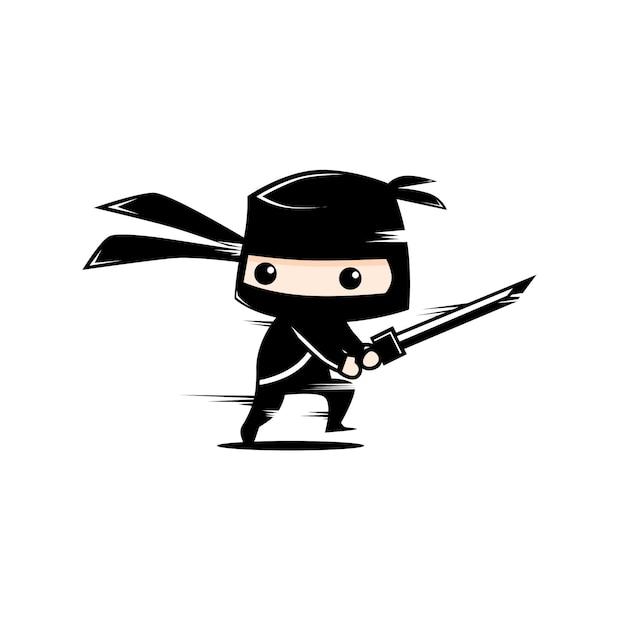 かわいい黒忍者 Premiumベクター