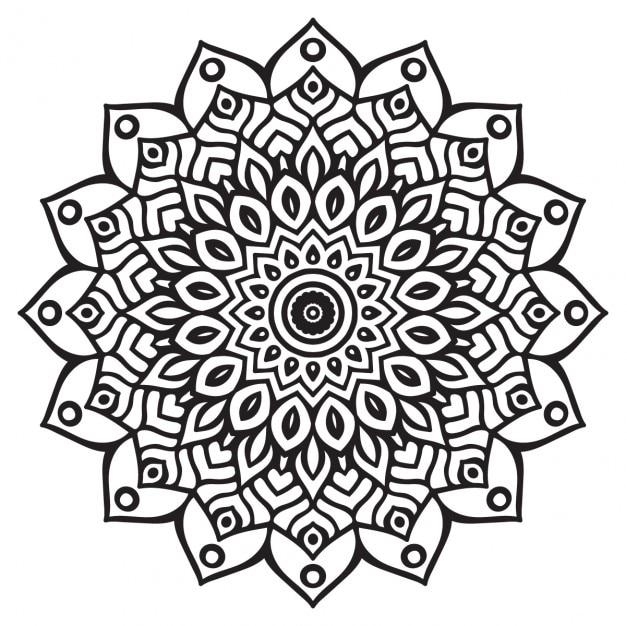 Free Vector Cute Black And White Mandala