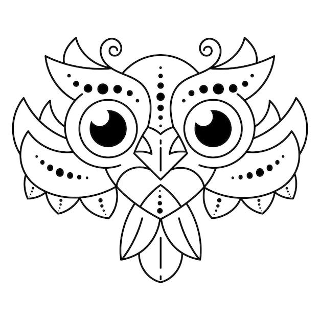 Cute black and white owl Premium Vector