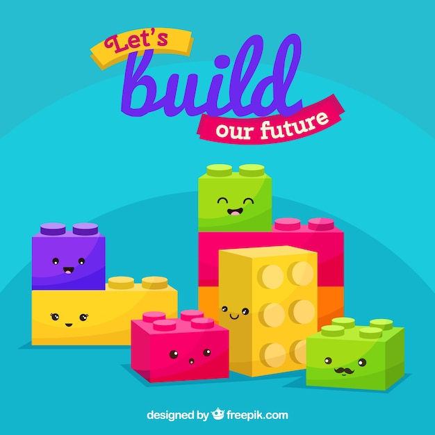 Cute blocks backgrounc Free Vector