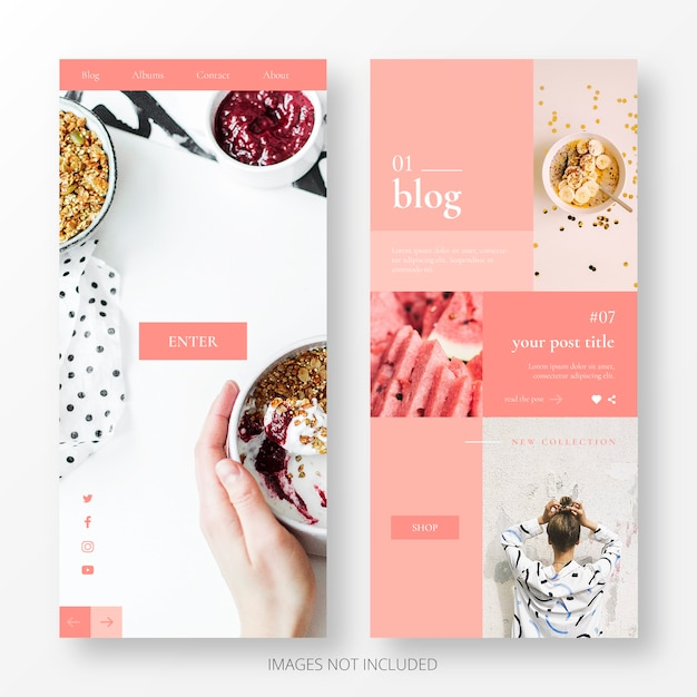 Cute blog landing page template Free Vector