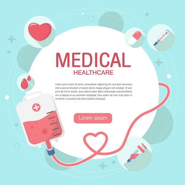 Cute blood donation elements background in flat style. Premium Vector