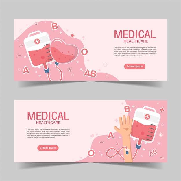 Cute blood donation elements banner background in flat style. Premium Vector