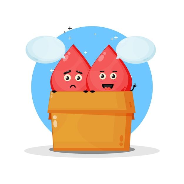 ボックスにかわいい血マスコット。悲しくて幸せな表情で Premiumベクター