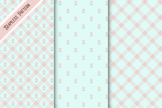 귀여운 파란색과 분홍색 체크 무늬와 꽃 원활한 패턴 세트 프리미엄 벡터