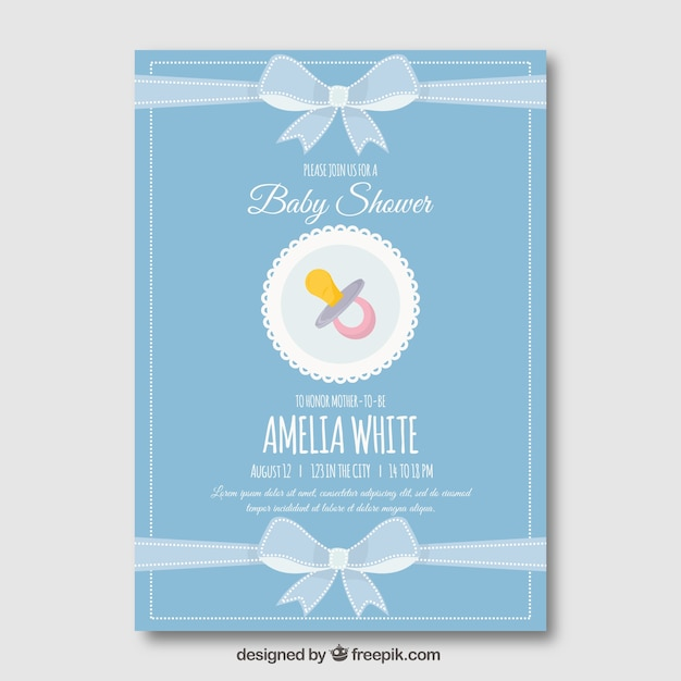 Cute blue baby shower template Free Vector
