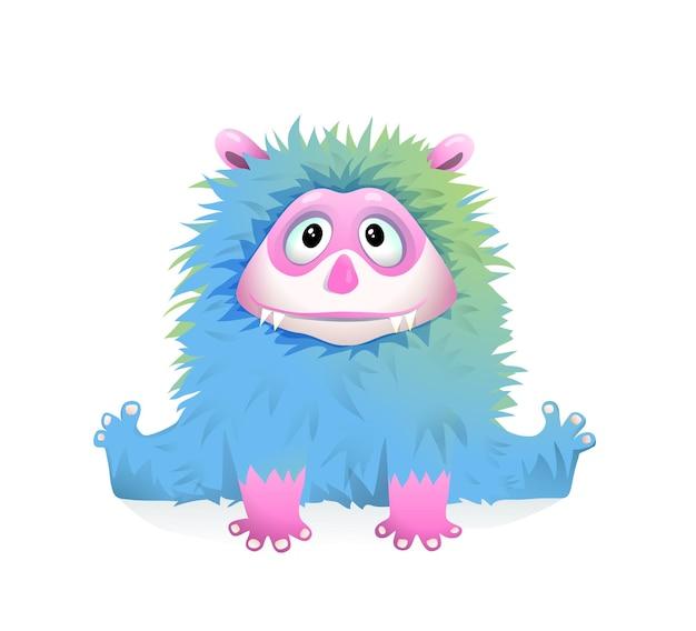 子供のためのかわいい青いふわふわの赤ちゃんモンスター、ファンタジー遊び心のある子供たちのキャラクター Premiumベクター