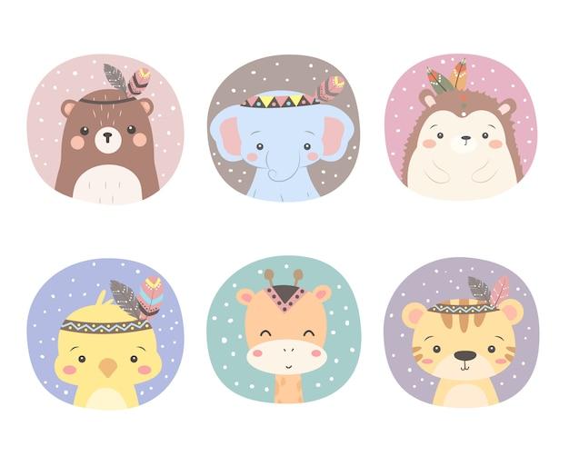 Premium Vector Cute Boho Animals Clipart