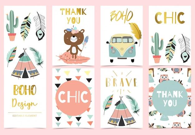 Cute boho card for kid Premium Vector