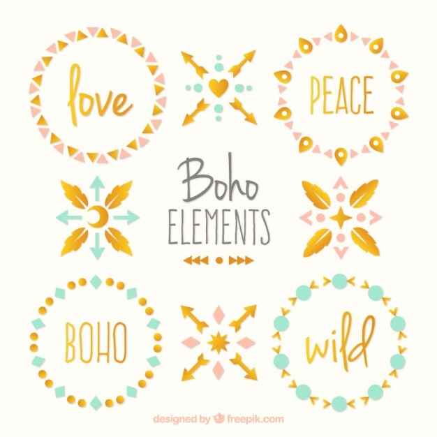 Cute boho elements pack with golden details Free Vector