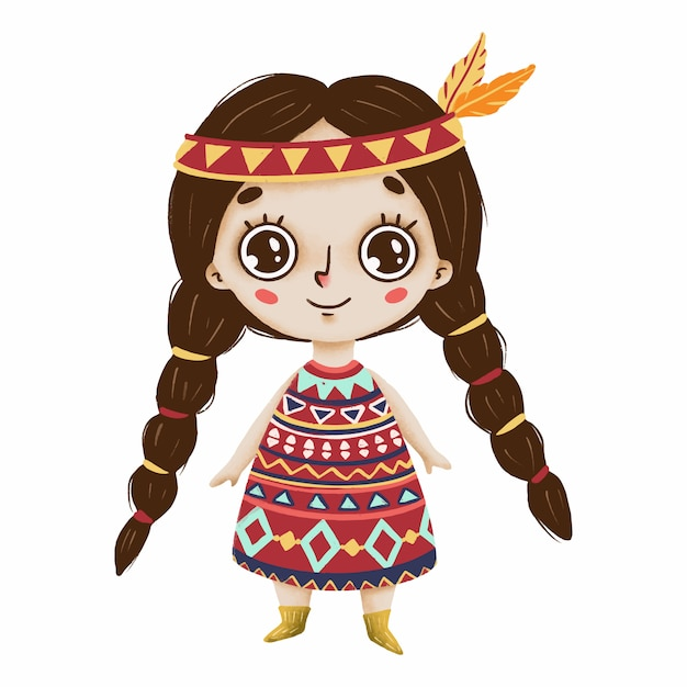 Cute Boho Girl With Big Eyes And Feathers In A Primitive Style On