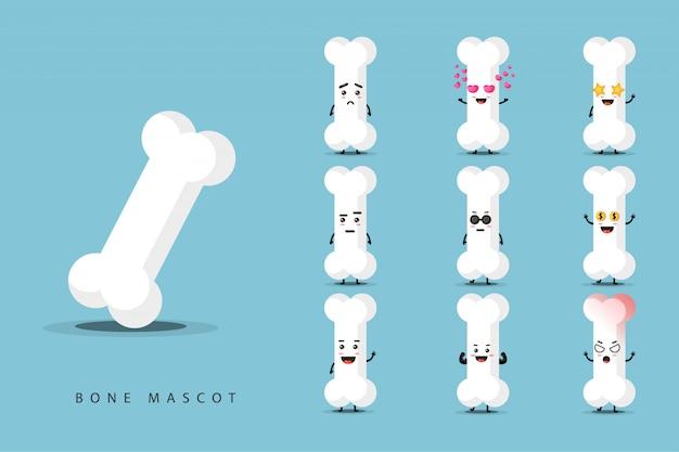 Cute bone mascot set Premium Vector
