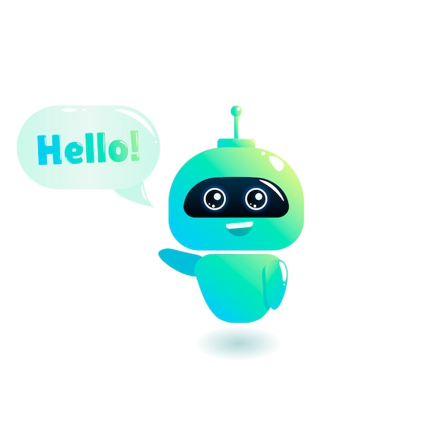 Cute bot say users hello. chatbot greets. online consultation. Free Vector