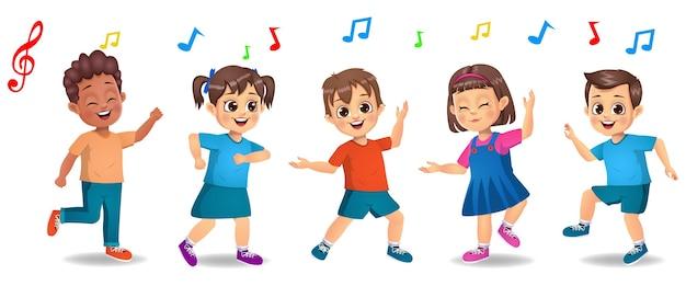 함께 음악에 맞춰 춤을 추는 귀여운 소년과 소녀 아이 프리미엄 벡터