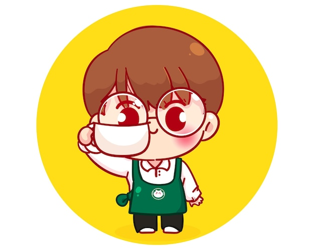 Cute boy barista in apron holding a coffee cup cartoon character illustration Free Vector