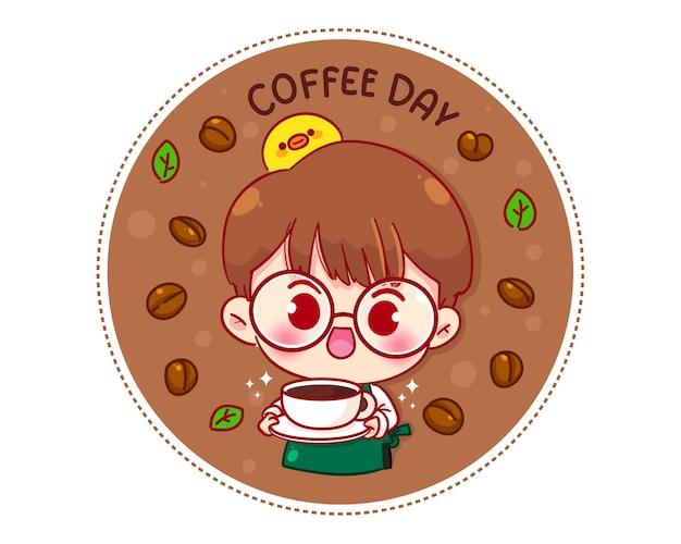 Симпатичный мальчик-бариста в фартуке, держащий кофейную чашку с логотипом мультипликационного персонажа Бесплатные векторы