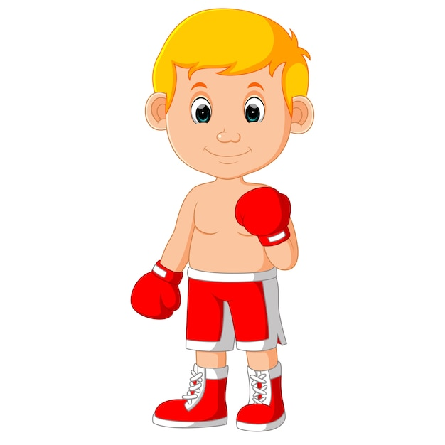 Cute boy boxing cartoon Premium Vector