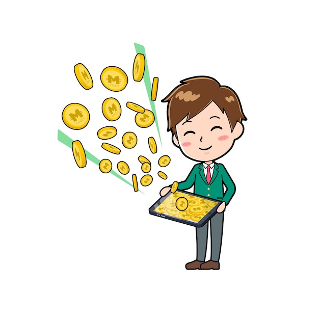 Cute boy cartoon character with a gesture of make money with tablet. Premium Vector