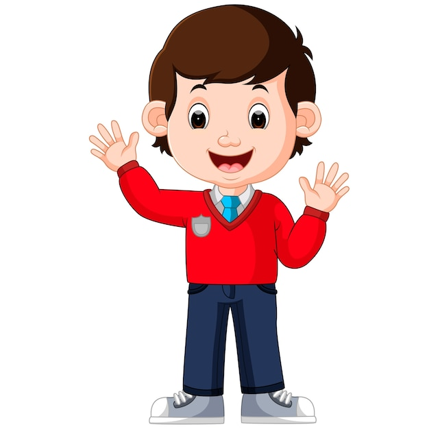 Cute boy cartoon good posing Vector | Premium Download