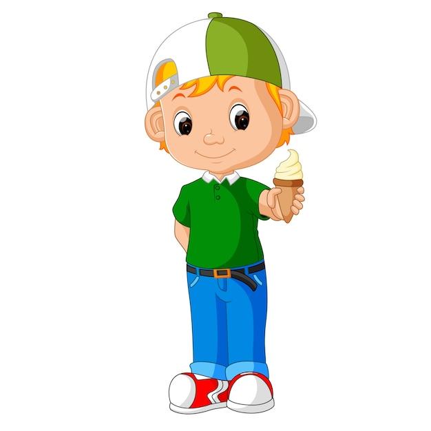 Милый мальчик мультфильм лизать мороженое Premium векторы