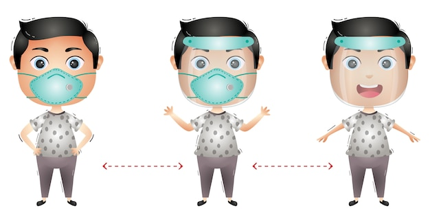Cute boy character using face shield and mask Premium Vector