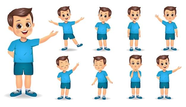 Милый мальчик персонаж с набором различных жестов Premium векторы