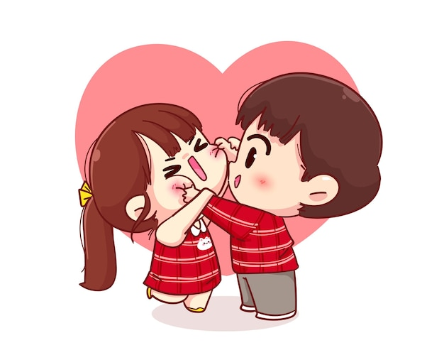 Cute boy cheek pinching his girlfriend, happy valentine, cartoon character illustration Free Vector