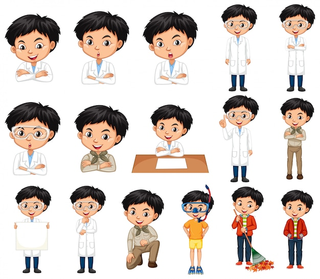 Cute boy in different outfit Free Vector