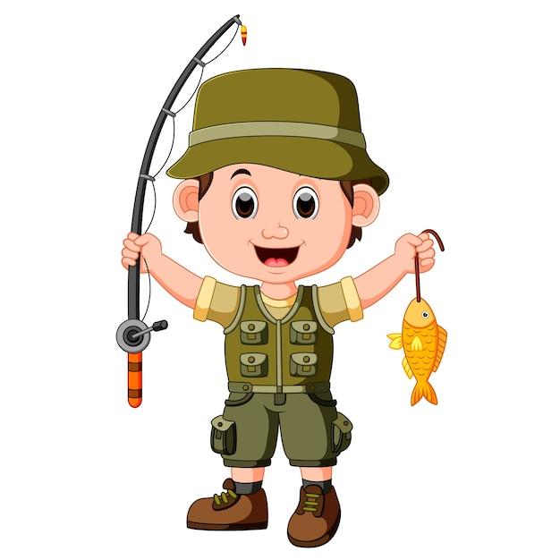 Cute boy fishing Premium Vector